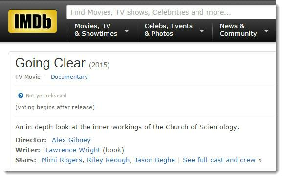 """""""Going Clear"""" Anti-Scientology movie listing at the Internet Movie Database"""