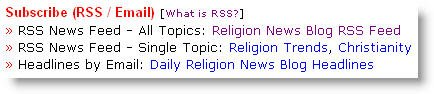 Religion News Blog RSS News Feeds.
