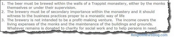Criteria for Trappist beer